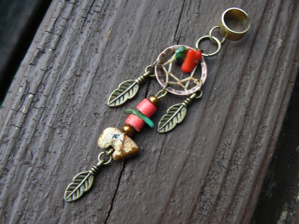 jasper zuni bear dreamcatcher ear cuff turquoise and red coral in boho gypsy hippie hipster  boho tribal fusion tribal style
