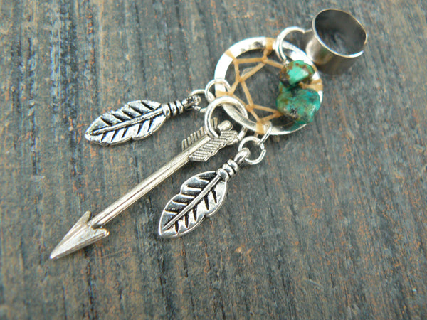 silver arrow dreamcatcher ear cuff turquoise feathers  in  tribal boho belly dancer tribal fusion and hipster style