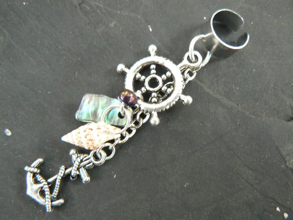 nautical ear cuff anchor ships wheel abalone seashells in beach mermaid boho gypsy hippie belly dancer  beach hipster and fantasy style