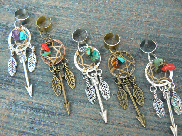 PICK an arrow dreamcatcher ear cuff turquoise coral amber native american inspired tribal boho belly dancer tribal fusion and hipster style