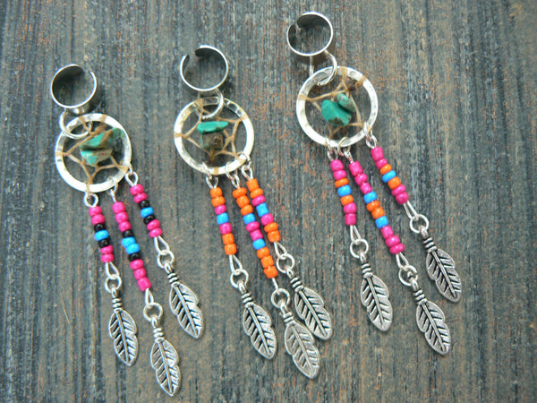 Turquoise dreamcatcher ear cuff  in choice of beaded colors
