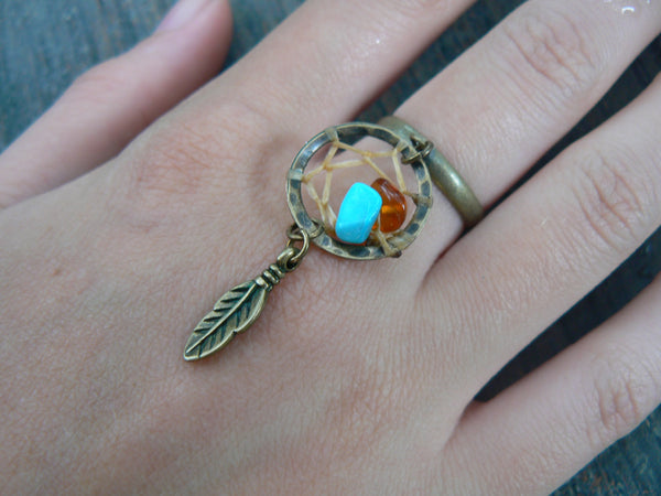 turquoise and amber brass dreamcatcher ring  in boho gypsy hippie hipster  tribal fusion and tribal style