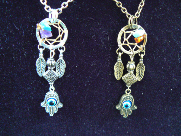 hamsa hand dreamcatcher necklace protection fatima hands Choose metal