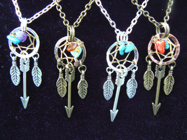 arrow dreamcatcher necklace ,tribal inspired, ONE,festival jewelry