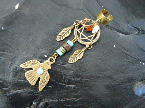 dreamcatcher thunderbird ear cuff tribal turquoise amber