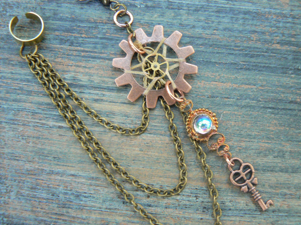 ONE victorian steampunk  dreamcatcher chained ear cuff  steampunk goth boho hipster tribal fusion  and tribal style