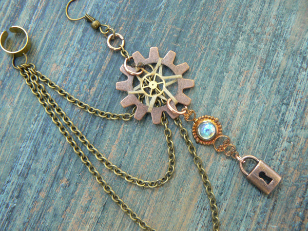 ONE victorian steampunk  dreamcatcher chained ear cuff  padlock steampunk goth boho hipster tribal fusion  style