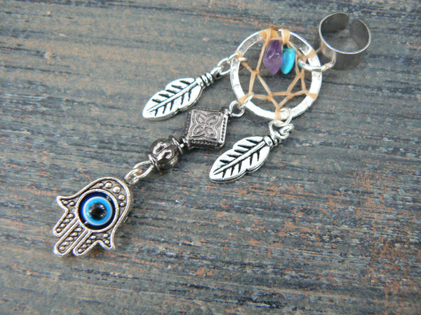 hamsa hand dreamcatcher ear cuff