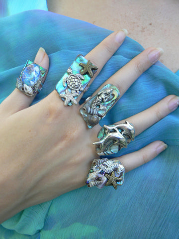 Abalone Under The Sea Statement Rings mermaid seahorse sea turtle