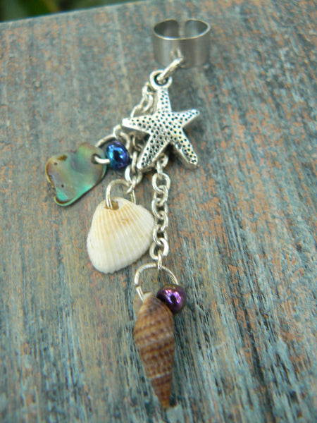 starfish seashell ear cuff abalone seashells starfish charm in beach mermaid boho gypsy hippie belly dancer  beach hipster and fantasy style