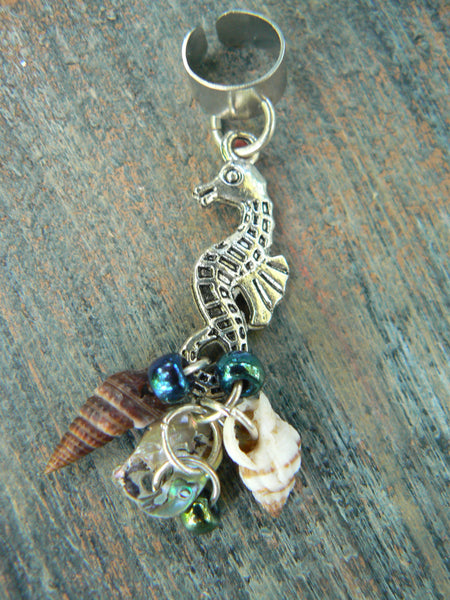 seahorse ear cuff  abalone seashells seahorse charm in beach mermaid boho gypsy hippie belly dancer  beach hipster and fantasy style