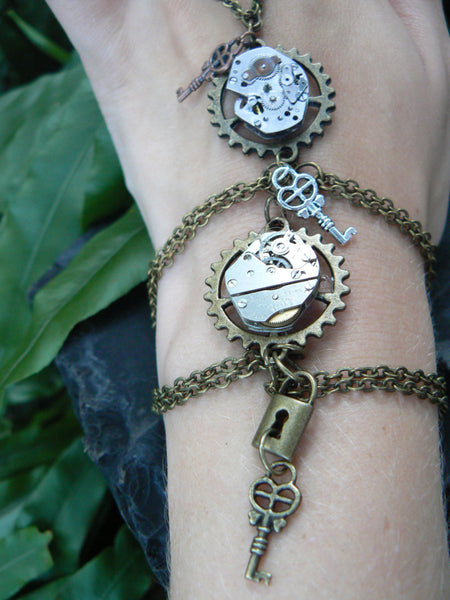 Steampunk slave bracelet Watch movements hand chain in goth rocker style bracelet unisex