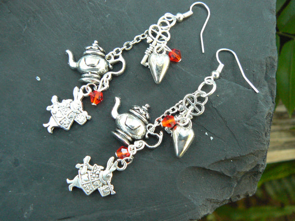 Alice in wonderland inspired earrings with red crystals