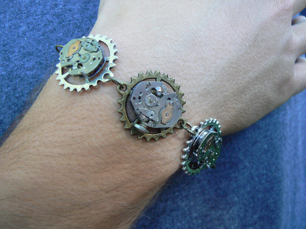 men's steampunk bracelet with gears and  watch parts unisex rocker style
