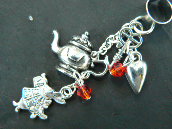 Alice in wonderland inspired ear cuff  with red crystals