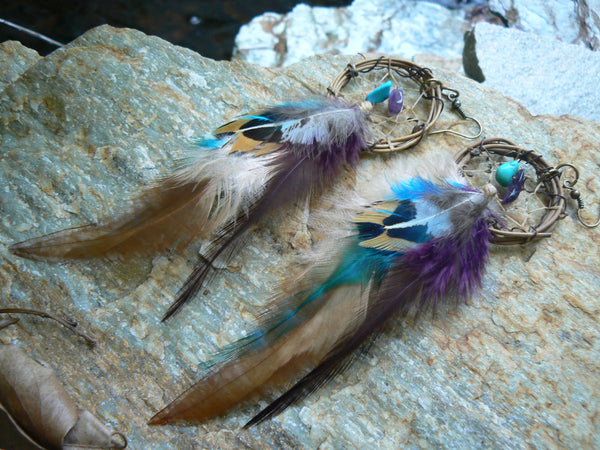 grapevine feather dreamcatcher earrings turquoise and amethyst  in native american inspired  tribal boho belly dancer and hipster style