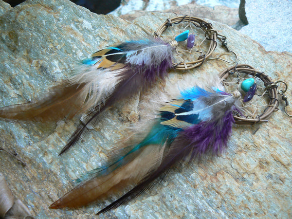 dreamcatcher earrings  feather earrings turquoise and amethyst earrings  tribal fusion