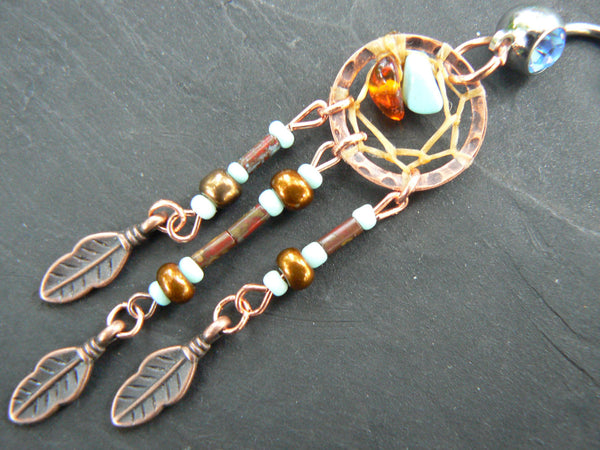 fall dreamcatcher belly ring turquoise amber copper czech beads cuff