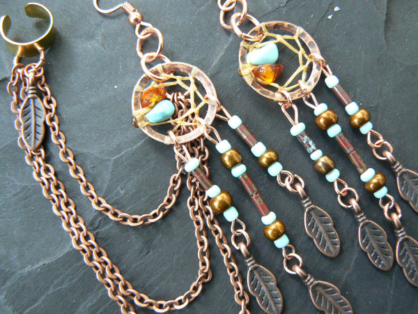 Fall ear cuff set copper amber turquoise dreamcatcher chained