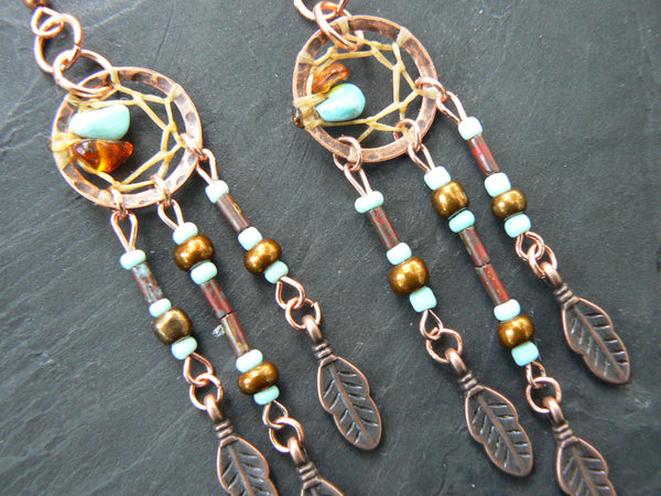copper and turquoise dreamcatcher earrings LIGHT turquoise