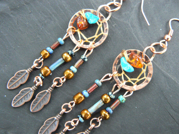 copper and turquoise dreamcatcher earrings