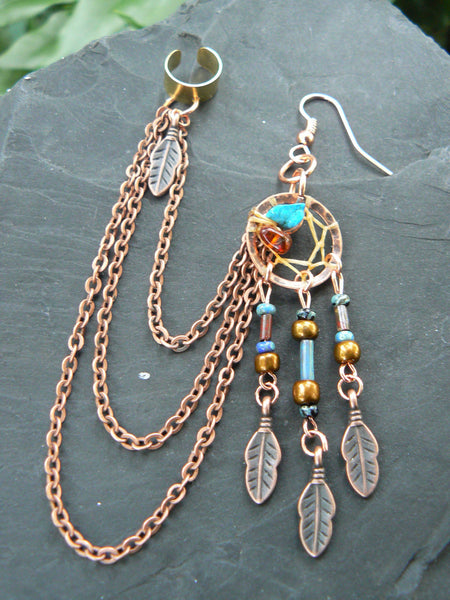 ONE copper and dark turquoise dreamcatcher chained ear cuff turquoise czech beads cuff in boho gypsy hippie hipster  and tribal fusion