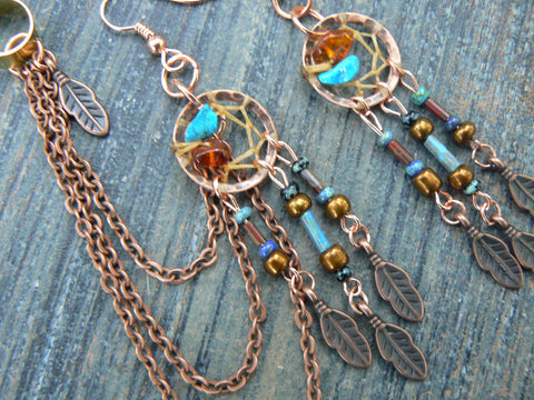 copper and  turquoise dreamcatcher ear cuff  chained  SET