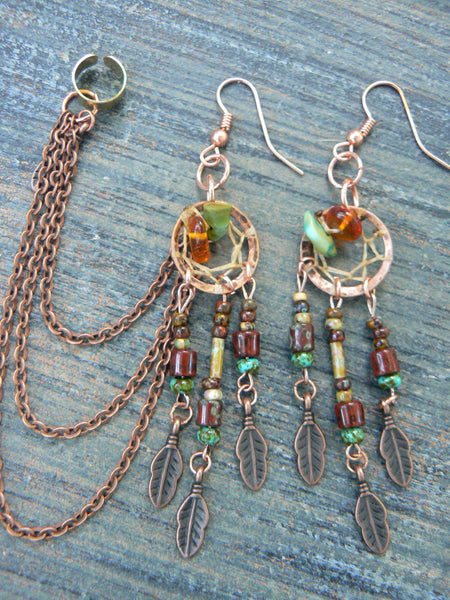 copper and green turquoise dreamcatcher ear cuff  chained  SET