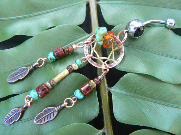 copper and green turquoise dreamcatcher belly ring
