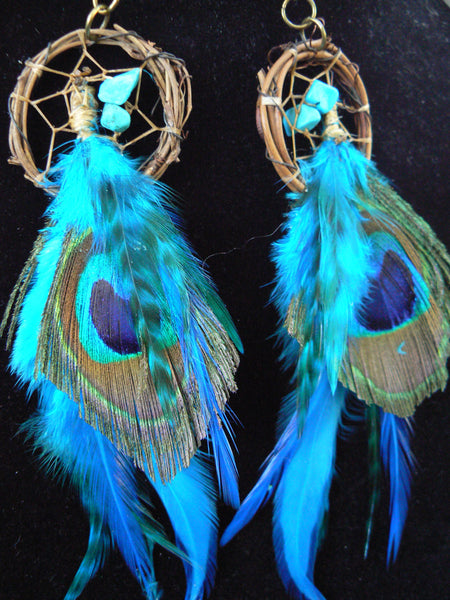 turquoise peacock feather dreamcatcher earrings turquoise peacock in native american inspired  tribal boho belly dancer and hipster style