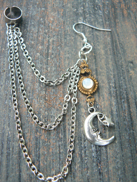 ONE moon and star chained ear cuff  white opal glass in moon goddess new age belly dancer celestial gypsy hippie morrocan boho and hipster