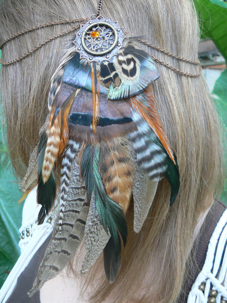 Tribal inspired headdress dreamcatcher feather head chain  Pow wow festival