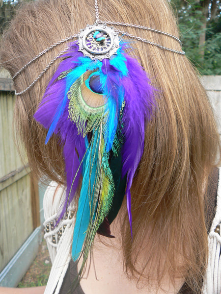 peacock feather head chain headdress in tribal fusion festival wear