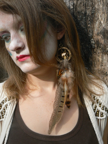 ONE pheasant feather zuni bear dreamcatcher earring dreamcatcher  in native american inspired  tribal boho belly dancer and hipster style