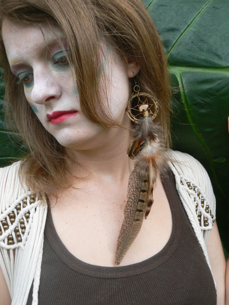 PAIR pheasant feather zuni bear dreamcatcher earrings dreamcatcher  in native american  inspired  tribal boho belly dancer and hipster style