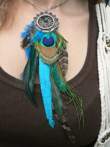 necklace peacock pheasant feather dreamcatcher  turquoise amethyst in native american inspired tribal boho belly dancer and hipster style