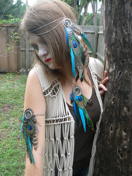 peacock feather dreamcatcher arm chain armlet  native inspired