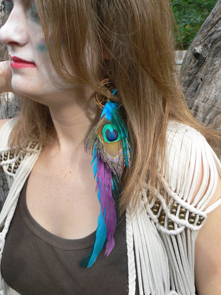 peacock feather dreamcatcher earring , ONE turquoise amethyst peacock  Dreamcatcher