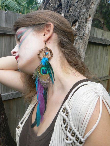 PAIR of  peacock feather dreamcatcher earrings turquoise amethyst    in native american inspired  tribal boho belly dancer and hipster style