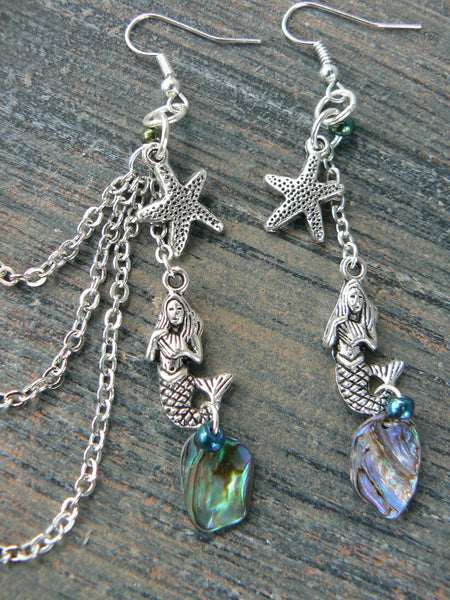 mermaid abalone starfish ear cuff  with chains SET mermaid siren earrings  in boho gypsy hippie hipster  beach  resort and fantasy style