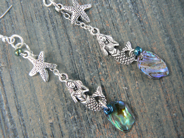 mermaid abalone starfish earrings  mermaid siren earrings  in boho gypsy hippie hipster  beach  resort and fantasy style