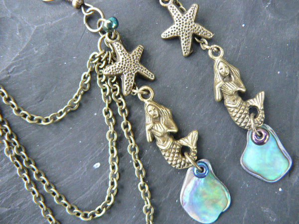 mermaid abalone ear cuff SET with starfish in brass chained SET