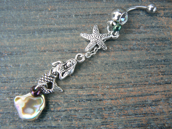 starfish abalone mermaid siren belly ring mermaid  abalone in beach boho gypsy hippie belly dancer  beach hipster and fantasy style