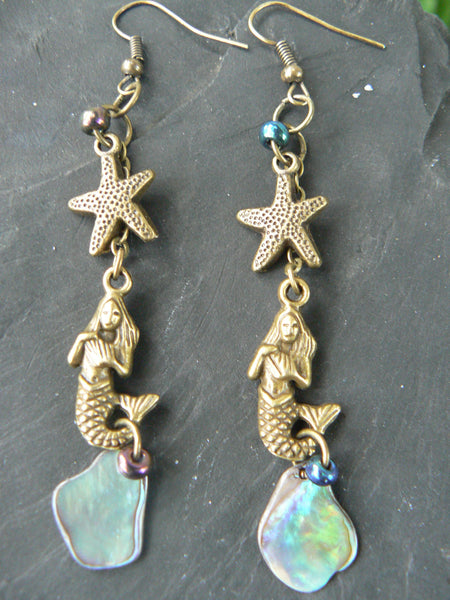 mermaid abalone starfish earrings in brass