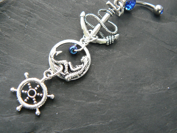 nautical mermaid  belly ring siren anchor ships wheel in beach boho gypsy hippie belly dancer  beach hipster and fantasy style