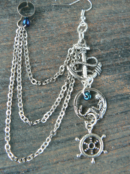ONE nautical mermaid ear cuff chained earring  mermaid siren anchor ship wheel in boho gypsy hippie hipster  beach  resort and fantasy style
