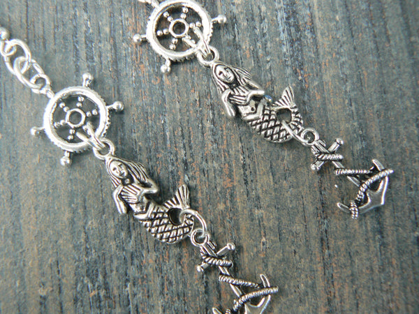 ships wheel mermaid earrings siren anchor  in beach boho gypsy hippie belly dancer  beach hipster and fantasy style
