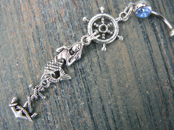 ships wheel mermaid belly ring mermaid siren anchor ships wheel  in beach boho gypsy hippie belly dancer  beach hipster and fantasy style