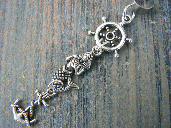 ships wheel mermaid belly ear cuff mermaid siren anchor ships wheel in beach boho gypsy hippie belly dancer  beach hipster and fantasy style