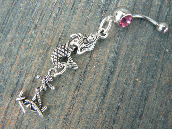 anchor mermaid belly ring  nautical belly ring